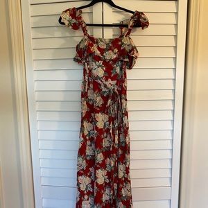 Floral Over The Shoulder Maxi Dress